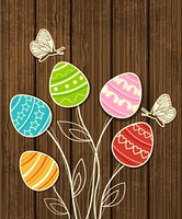 Vector wooden Easter background with eggs