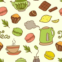 Vector seamless pattern with teapot and cakes