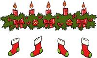 Cartoon holly berry candle socks vector illustration