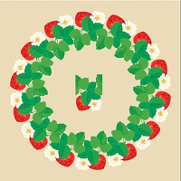 Circle ornament with Strawberries in heart shapes with flowers and leaves isolated on gray background. Pattern endless fragment.