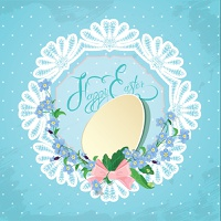 Easter greeting card with paper egg, ribbon, forget-me-not spring flowers and round lace frame on blue background, calligraphic text Happy Easter