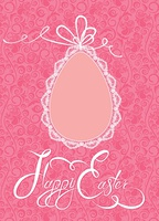 Easter greeting card with lace egg with ribbon on pink ornamental background, calligraphic text Happy Easter