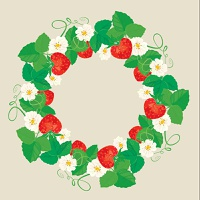 Circle ornament with Strawberries in heart shapes with flowers and leaves isolated on gray background