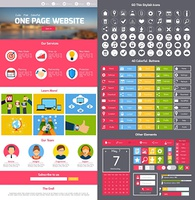 Flat website design template with menu icons and navigation layout elements vector illustration