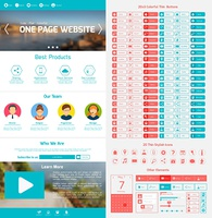 One page website design template with menu icons and navigation layout elements vector illustration
