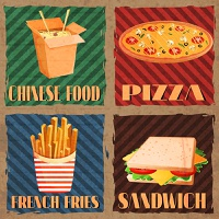 Fast junk food cards set of chinese food french fries pizza sandwich isolated vector illustration