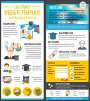 Education and e-learning resources web site page vector illustration