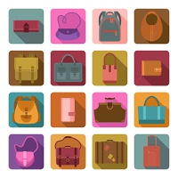 Women fashion and travel baggage bags colored flat icons set isolated vector illustration
