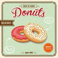 Tasty sugar pastry delicious donut dessert on cafe retro poster vector illustration