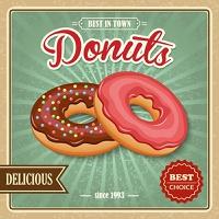 Tasty sugar glazed pastry delicious donut dessert on cafe paper poster vector illustration.