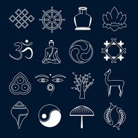 Buddhism yoga oriental zen meditation energy symbols icons outline set isolated vector illustration