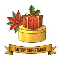 Merry christmas new year holiday gift boxes icon with ribbon vector illustration