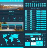 One page website design template with world map menu icons and navigation layout elements vector illustration