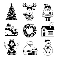 Chrismas new year decorative icons black and white with gift box deer snowman isolated vector illustration