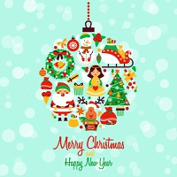 Christmas new year decorative icons set in holiday ball shape vector illustration