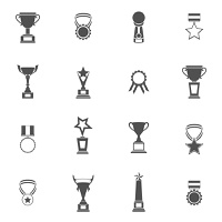 Trophy icons black set of champion medallion winner prize first place laurel wreath isolated vector illustration
