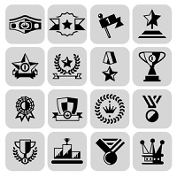 Award icons black set of laurel wreath winner cup isolated vector illustration