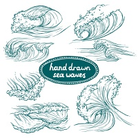 Waves flowing water hand drawn sea ocean icons set isolated vector illustration
