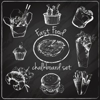 Fast food chalkboard icons set of pizza noodles chicken sandwich isolated vector illustration
