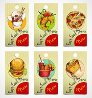 Fast food menu paper tags with noodles croissant pizza isolated vector illustration