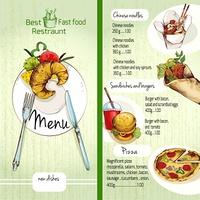 Fast food restaurant menu list with noodles burgers pizza vector illustration
