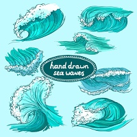 Waves flowing water hand drawn sea ocean colored decorative icons set isolated vector illustration