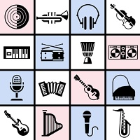 Musical instruments black icons set with vinyl trumpet headphones violin isolated vector illustration