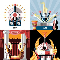 Musical instruments flat icons set with pop jazz classic rock isolated vector illustration.