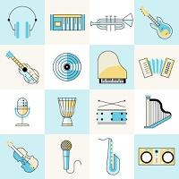 Musical instruments flat line icons set with headphones keyboard trumpet guitar isolated vector illustration
