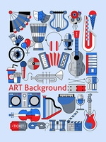 Art flat line set with musical instruments theater tickets and decoration vector illustration.