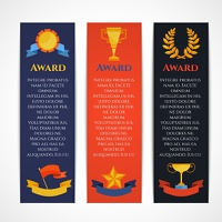 Award vertical banner set with winner prizes champion cups isolated vector illustration