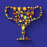 Award decorative icons set in winner champion cup shape vector illustration