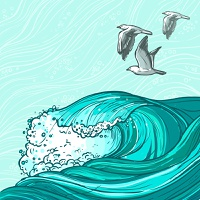 Waves flowing water hand drawn sea ocean and seagull birds colored background vector illustration