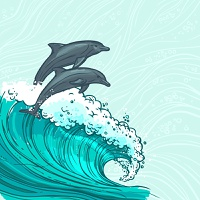 Waves flowing water sketch sea ocean and two dolphins colored background vector illustration