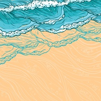 Waves flowing water sketch sea ocean and sandy beach seashore colored background vector illustration