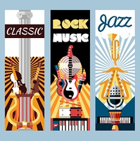 Music flat vertical banners set with jazz classic rock instruments isolated vector illustration