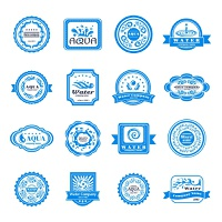 Water company aqua mineral emblems blue wave set isolated vector illustration