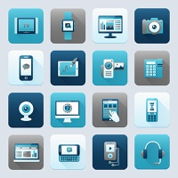 Internet and mobile devices modern technology electronics equipment icons set isolated vector illustration