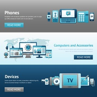 Devices design banner set with phones computers and accessories isolated vector illustration