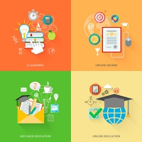 Online education icons flat set with e-learning distance degree isolated vector illustration