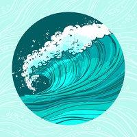 Sketch sea ocean water wave in circle shape colored background vector illustration