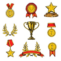 Award decorative sketch colored icons set of laurel wreath achievement star isolated vector illustration