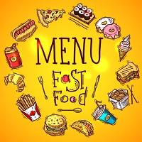 Fast food menu concept with colored sketch soda sandwich and chicken decorative icons vector illustration