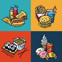 Fast food design concept set with sandwich croissant hotdog sketch icons isolated vector illustration