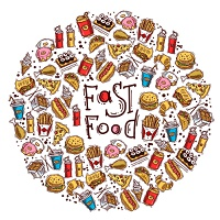 Fast food colored sketch decorative icons set in circle shape vector illustration