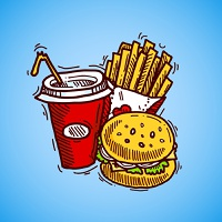 Fast food sketch decorative icon set with drink french fries and hamburger vector illustration