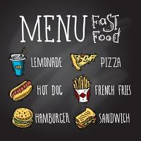 Fast food menu chalkboard decorative icons set with lemonade hot dog hamburger pizza french fries hamburger and sandwich isolated vector illustration