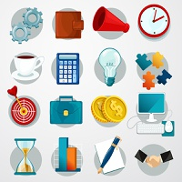 Business flat icons set with gears wallet megaphone clock isolated vector illustration