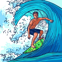 Surfer man on surfboard on wave adventure extreme sport background vector illustration