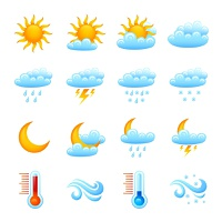 Weather forecast website decorative icon set with sun clouds rain thermometer isolated vector illustration